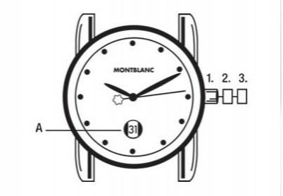 万宝龙旅行时计行列石英表调节时间、日期方法图解